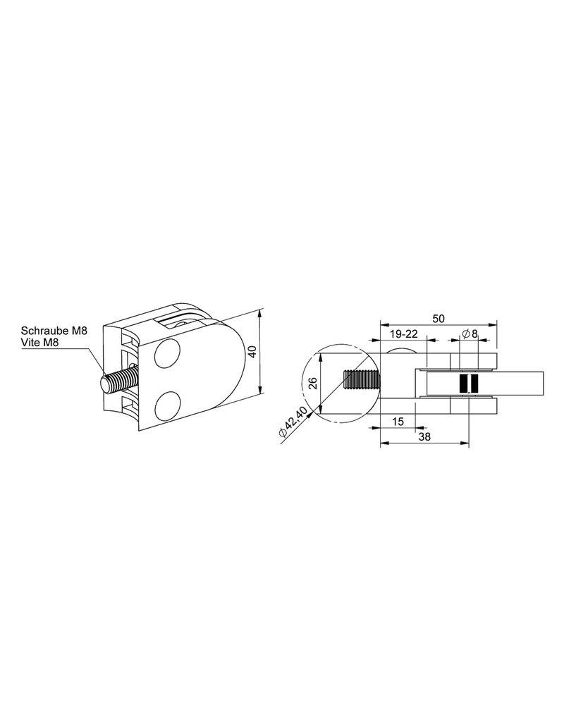 Triebenbacher glasklem V4A model 20 - 50x40x26mm voor glas 6 - 10.76mm