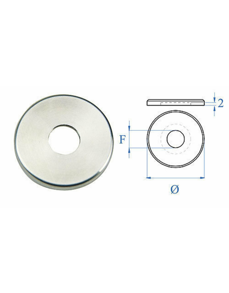 Triebenbacher afdek rosette geslepen V2A - buitendia 40mm - H 4mm