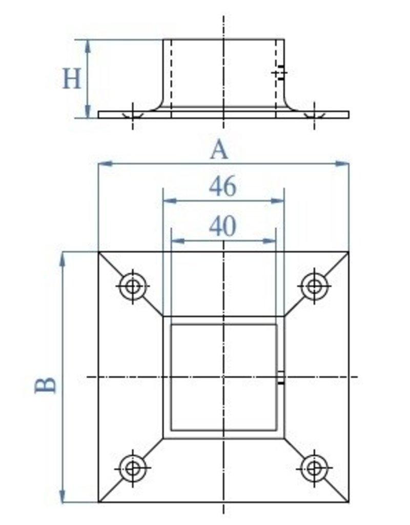 Triebenbacher bodemanker V2A voor koker 40x40x2mm