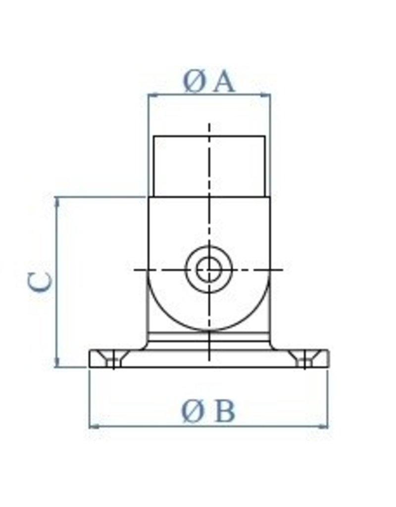 bodemanker geslepen V2A voor ronde buis 42.4mm