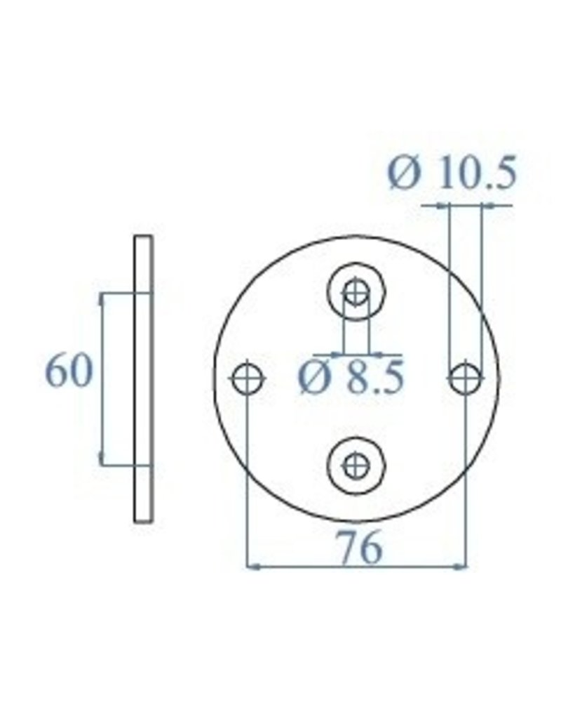 Triebenbacher bodemplaat V2A - 100x6mm