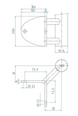 wandbevestiging 90° buitenhoek V2A