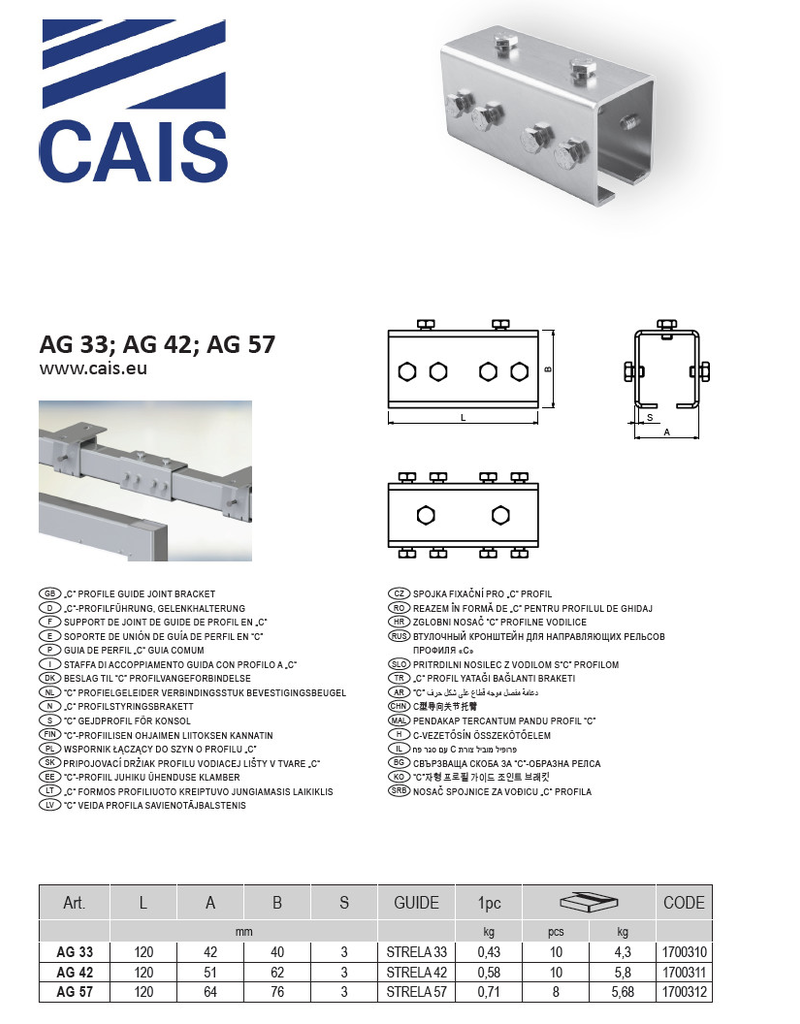 "CAIS ""C"" profielgeleider verbindingsstuk bevestigingsbeugel"
