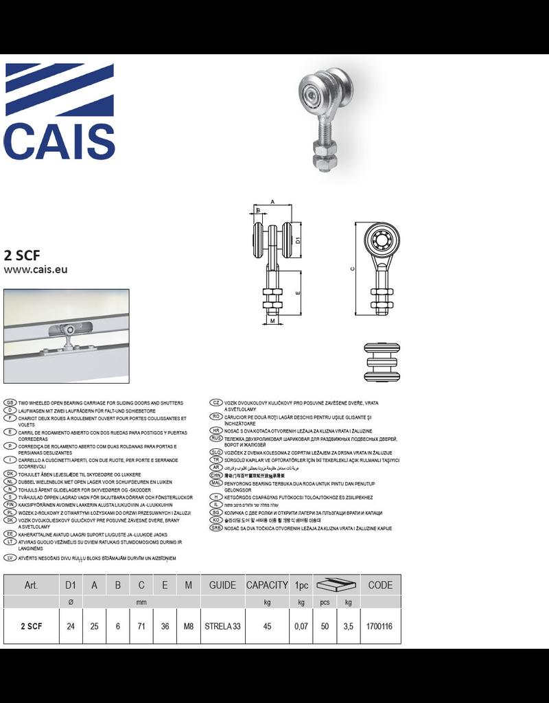 CAIS Dubbel wielenblok M8 met open lager voor schuifdeuren en luiken