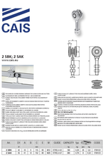 CAIS Chariot deux roues à roulement fermé pour portes coulissantes et volets
