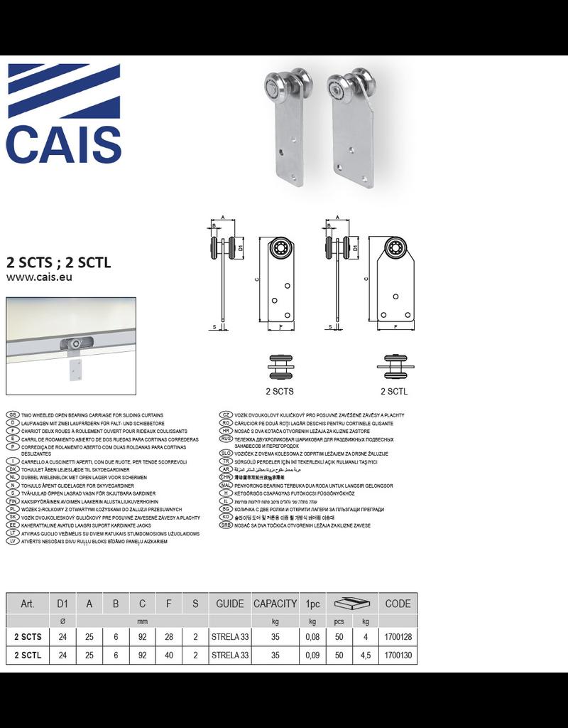 CAIS Chariot deux roues à roulement ouvert pour rideaux coulissants
