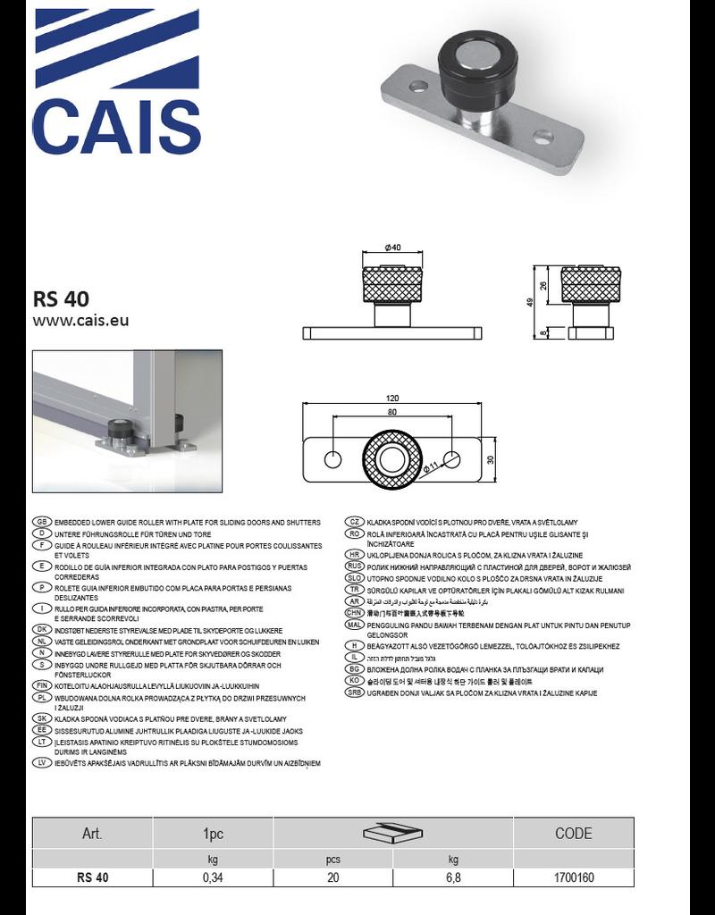 CAIS Guide à rouleau inférieur integre avec platine pour portes coulissantes et volets
