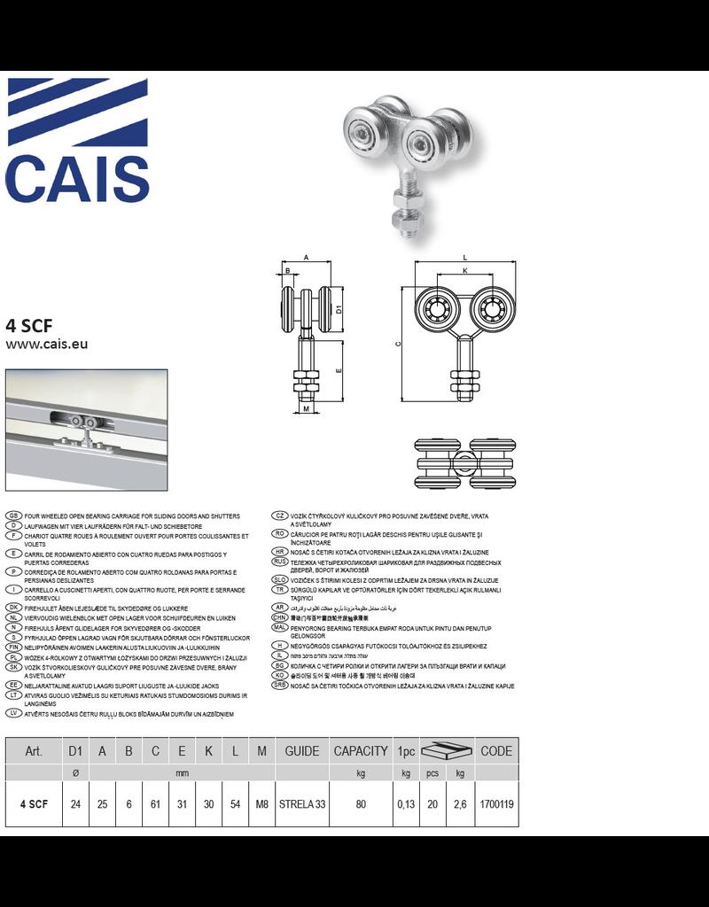 CAIS Viervoudig wielenblok M8 met open lager voor schuifdeuren en luiken