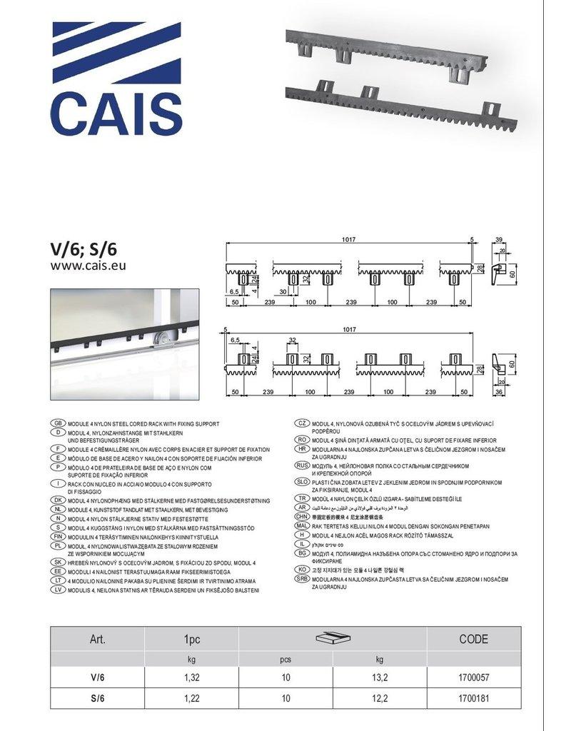 CAIS Crémaillère nylon avec corps en acier et support de fixation