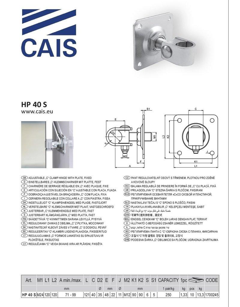"""CAIS Charnière de serrage réglable en """"C"""" avec plaque"""