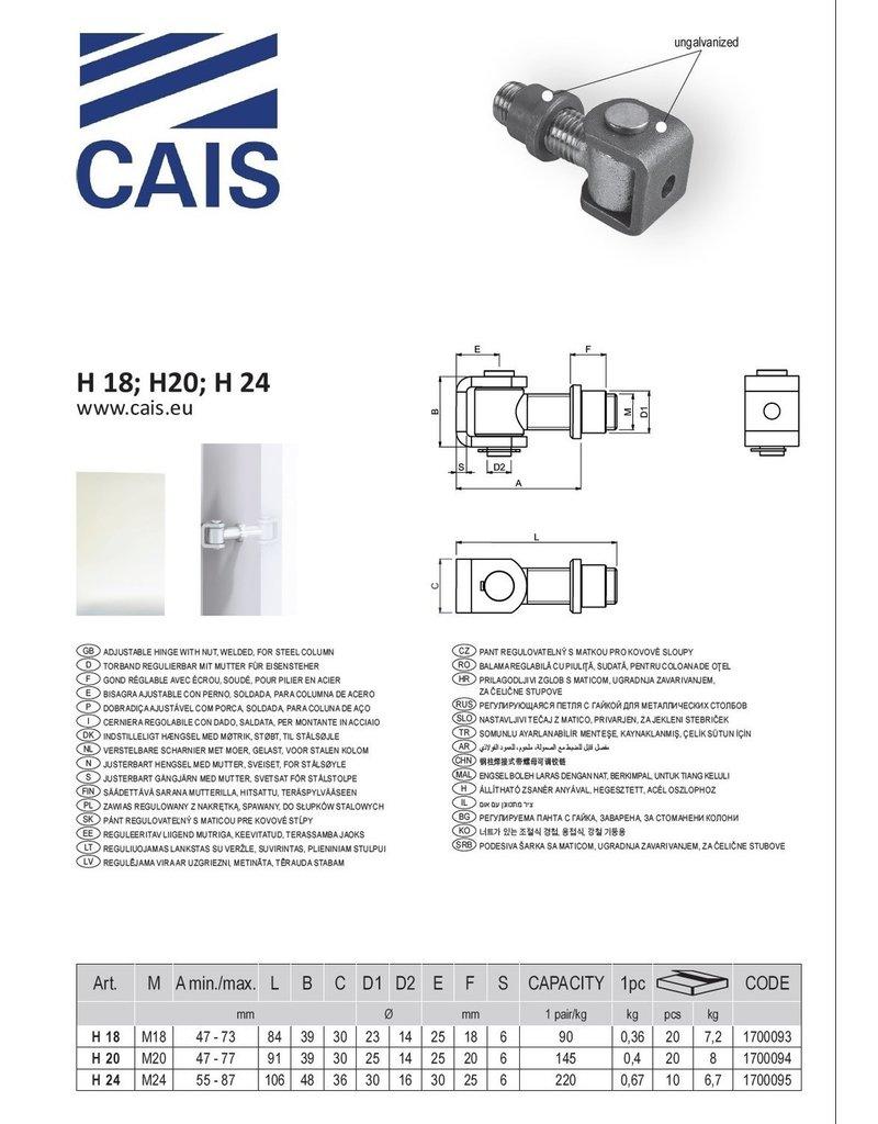CAIS Verstelbaar scharnier - gelast - voor stalen kolom