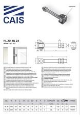 CAIS Verstelbaar scharnier met langere steel - voor houten of stalen kolommen
