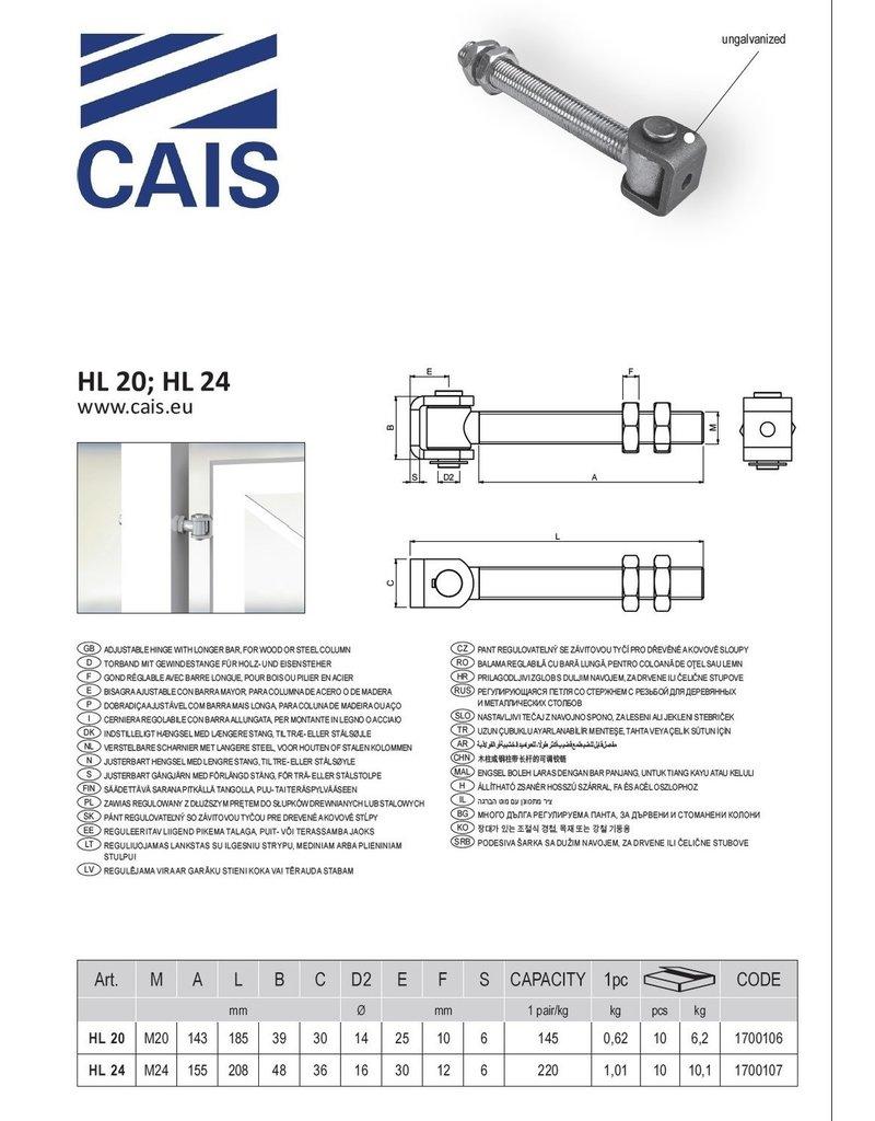 CAIS Gond reglable avec barre longue, pour bois ou pilier en acier