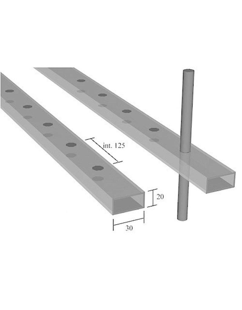 Triebenbacher geperforeerde rechthoekige buis 30x20x2mm - dia12mm - 3000mm
