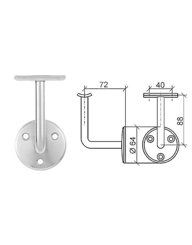 Triebenbacher support main courante acier avec platine pour tube 42.4mm