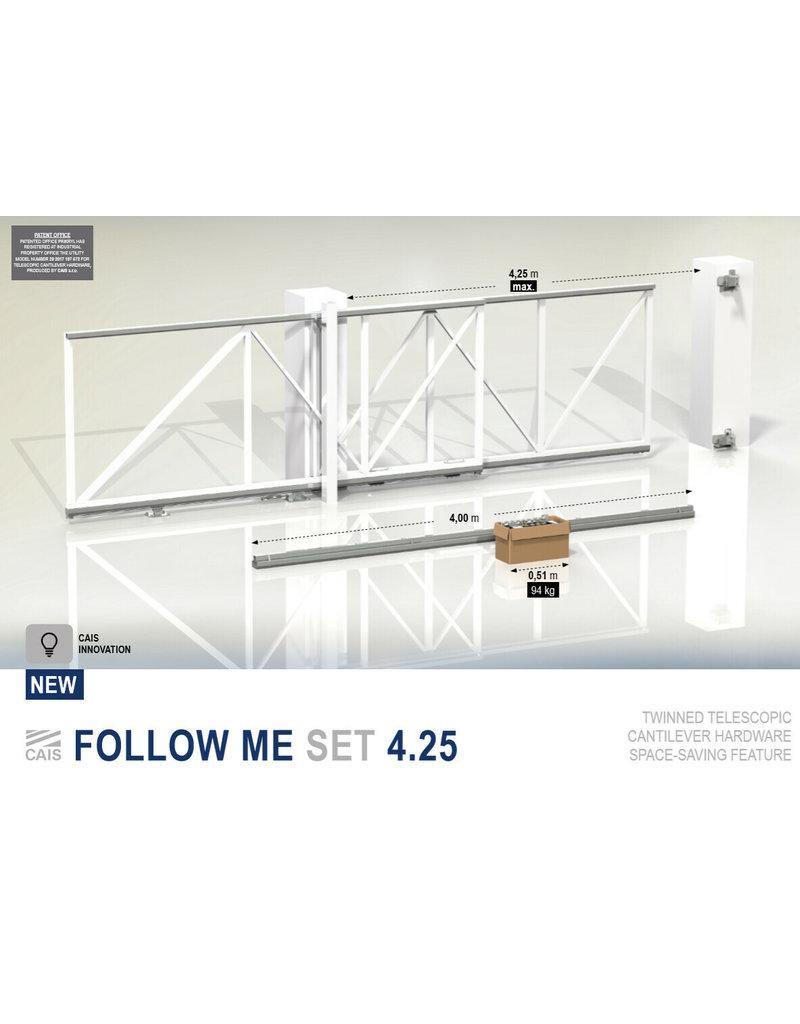 CAIS Follow me set 4.25 - 4.25m Dubbele rail met alle accessoires voor het ophangen van de poort