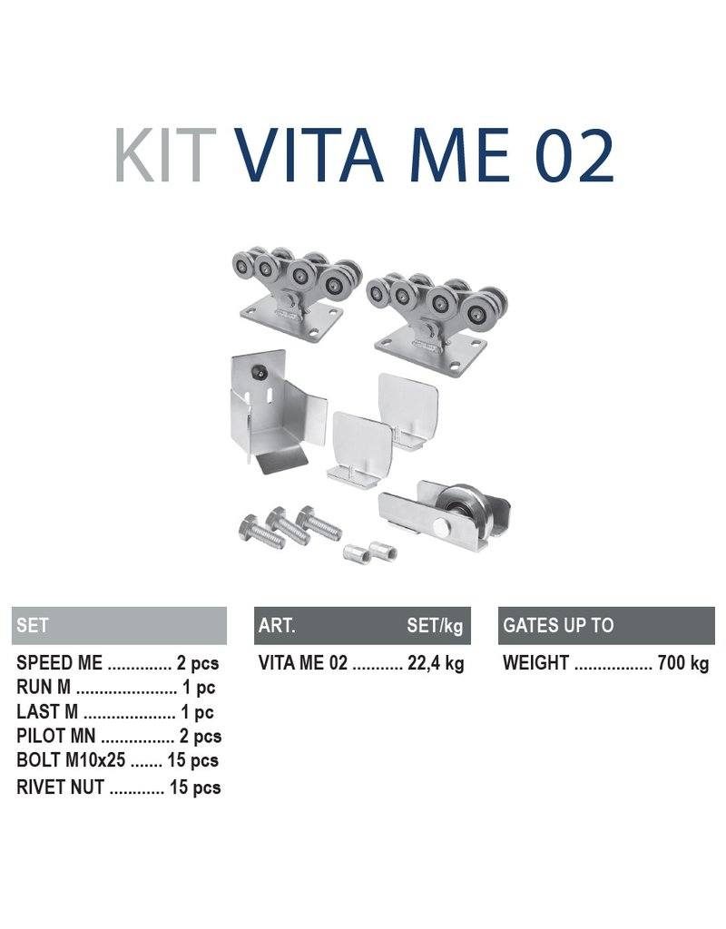 CAIS Cantilever set ME - 700kg  - zonder geleidingsprofielen