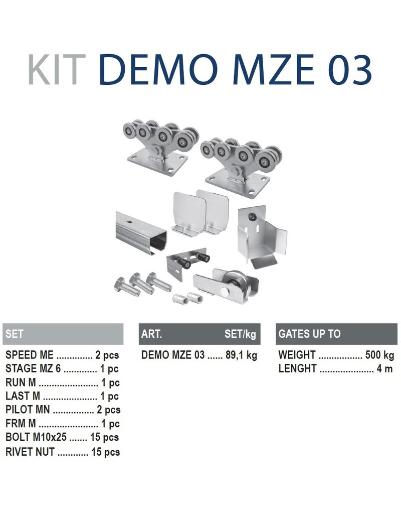 CAIS Cantilever set ME - 500kg - 4m  - met geleidingsprofielen verzinkt