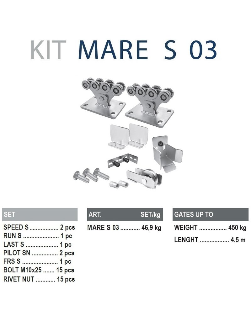 CAIS Cantilever set S - 450kg - zonder geleidingsprofielen
