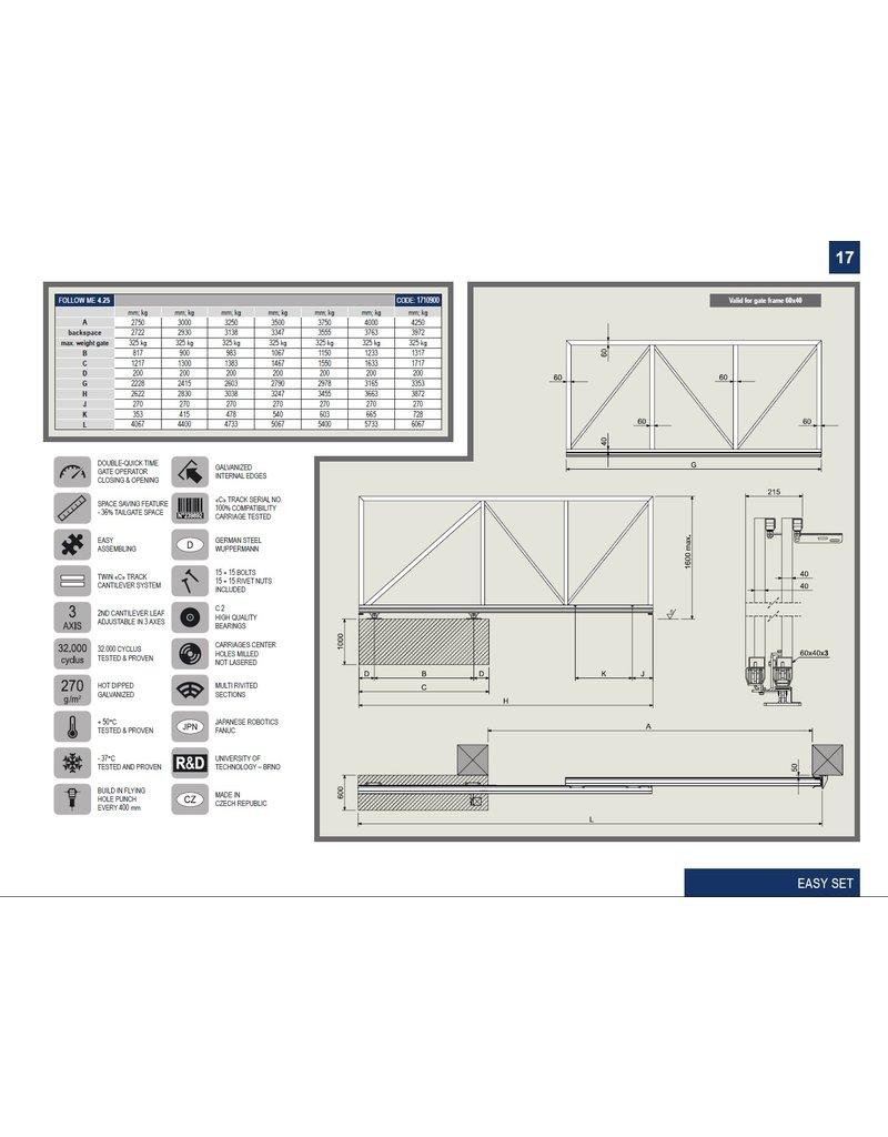 CAIS Follow me set 4.25 - 4.25m Double rail avec tous les accessoires pour accrocher la porte
