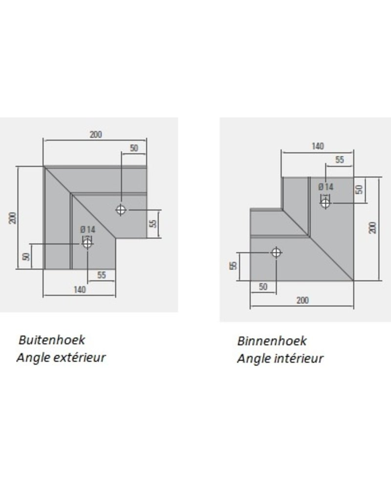 Glassline Angle 90° HYBRID garde-corps  - TOP 1