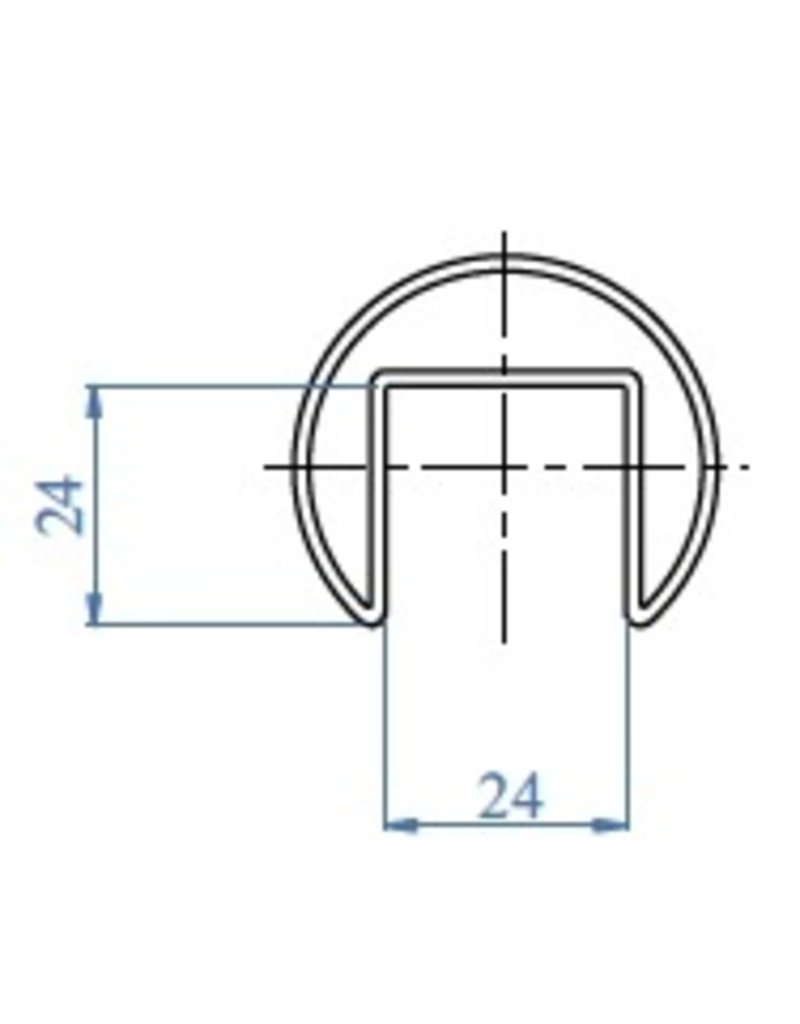 "I AM Design main courante  LED en ""U"" brossé 24x24mm"