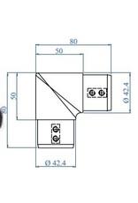 Triebenbacher Verbindingsstuk geslepen 90° V4A - 42.4mm