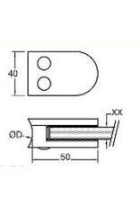 Rinox glasklem V2A / V4A / zink - 50x40mm voor glas 6 - 10.76mm
