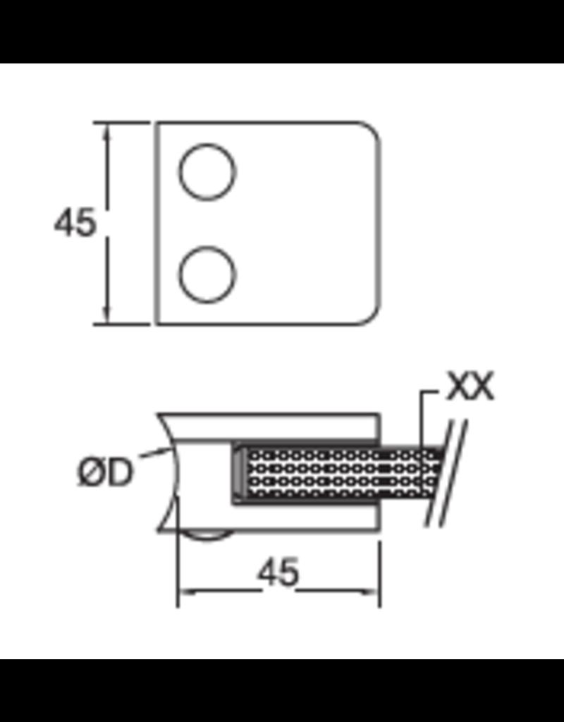 Rinox glasklem V2A / V4A / zink - 45x45mm voor glas 8 - 10.76mm