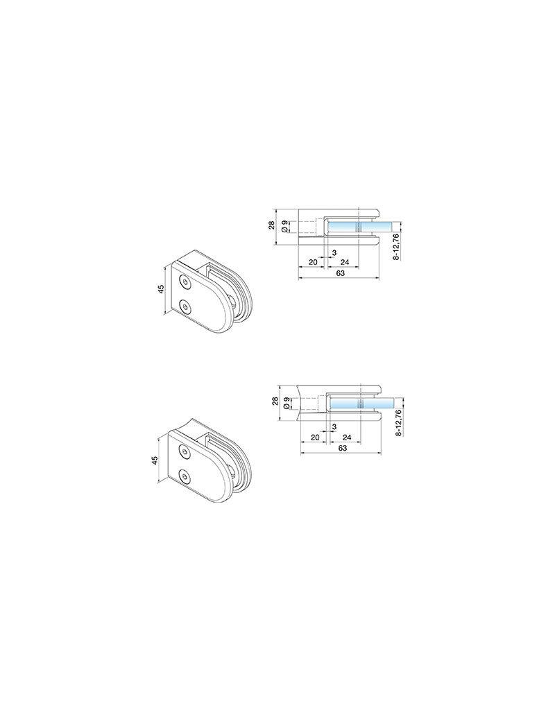 Pauli & Sohn glasklem zink - 63x45x28mm voor glas 8 - 8.76mm / rubbers inclusief