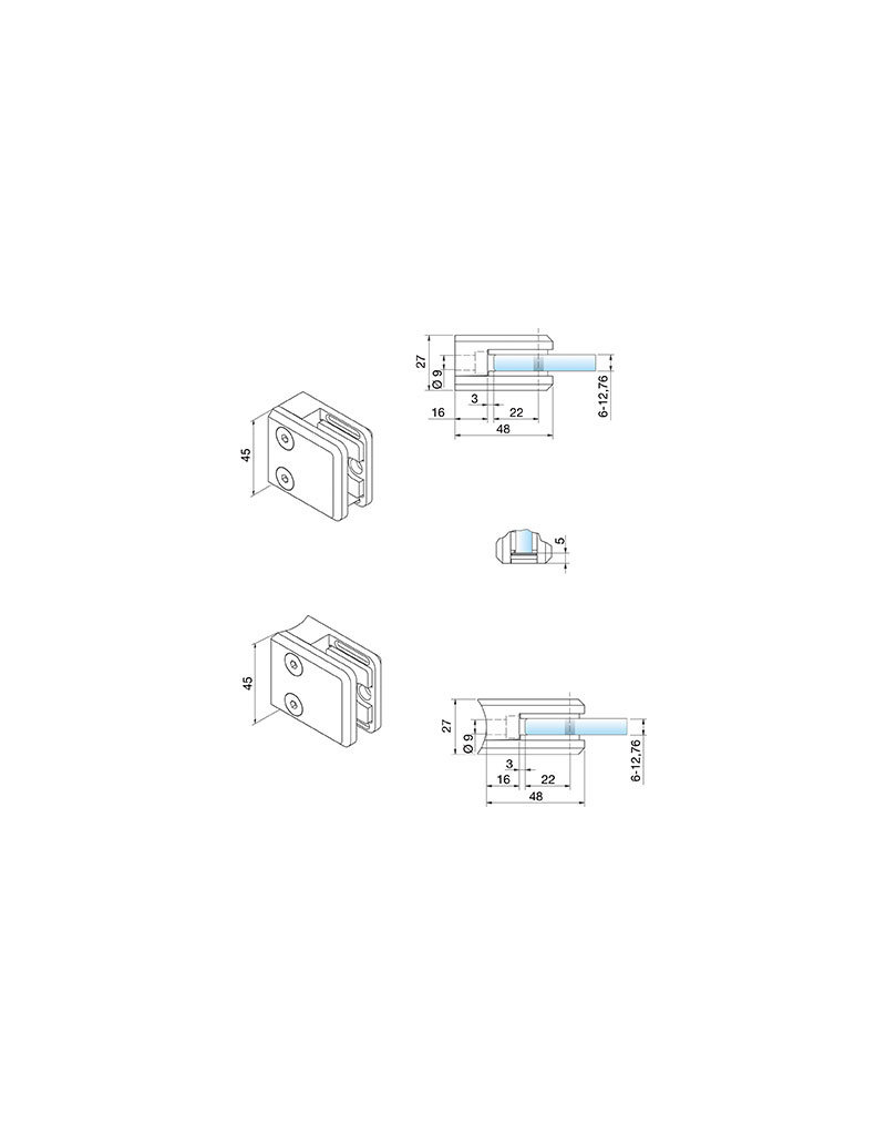 Pauli & Sohn glasklem V4A- 48x45x27mm voor glas 6 - 12.76mm/ rubbers inclusief