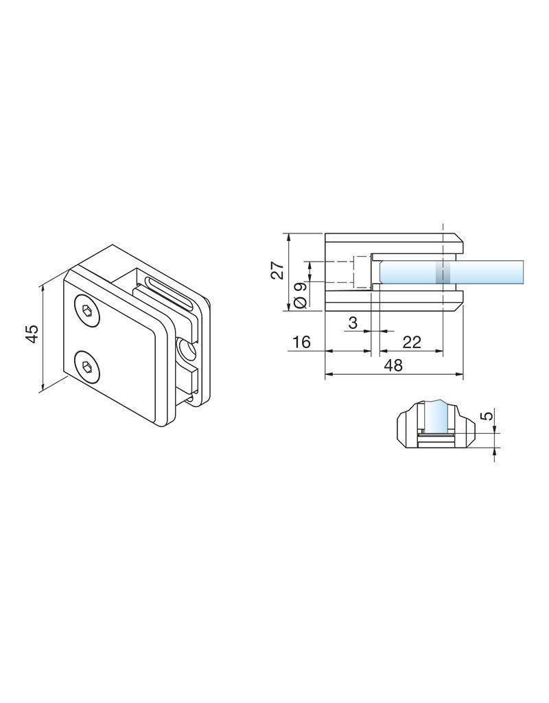 Pauli & Sohn pince à verre V4A - 48x45x27mm pour verre 6 - 6.76mm / joints inclus
