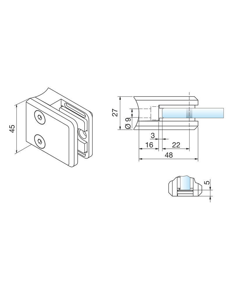 Pauli & Sohn glasklem V2A- 48x45x27mm voor glas 6 - 6.76mm/ rubbers inclusief