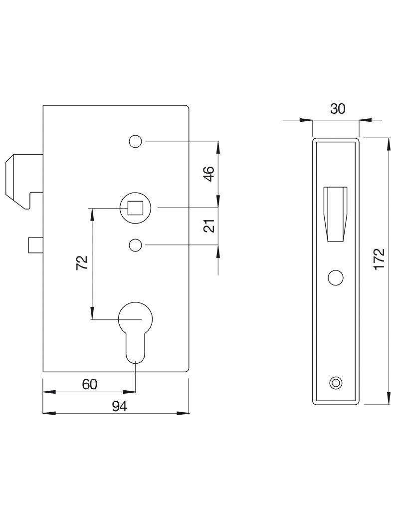Deutsche Metall boîtier de serrure avec serrure à crochet galvanisé