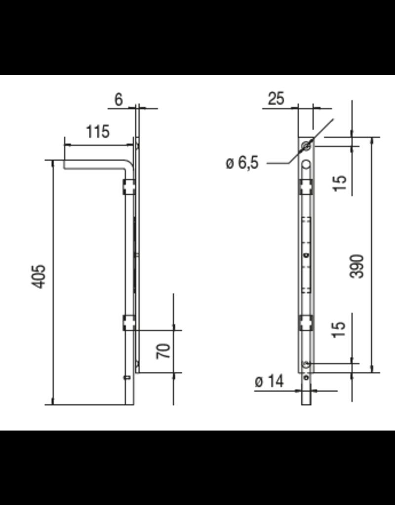 Deutsche Metall poortslot dia 14mm met staalplaat