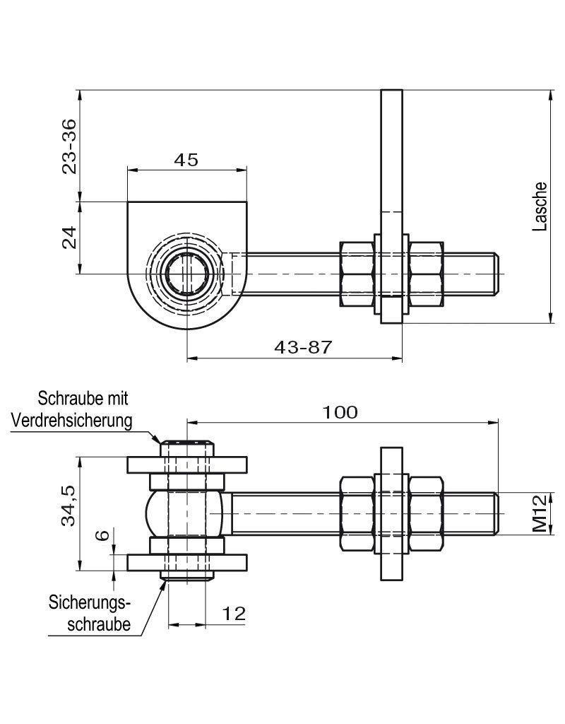 Deutsche Metall scharnier met messing sluitschroef incl. binnendraad en draaiende stopoogbout gegalvaniseerd