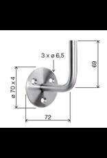 Deutsche Metall Leuningdrager V2A met 3 verzonken boringen lasmodel