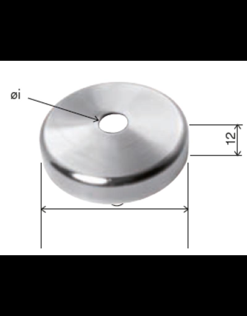 Deutsche Metall afdek rosette geslepen V2A - binnendia 12mm