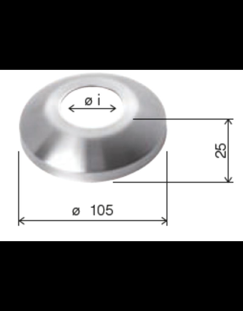 Deutsche Metall afdek rosette conisch geslepen V2A