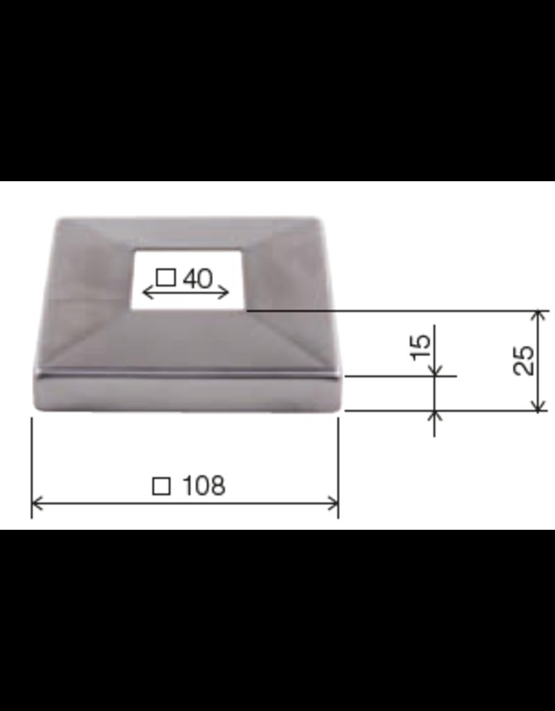 Deutsche Metall rosaçe poli V2A - 108x108mm - 40x40mm