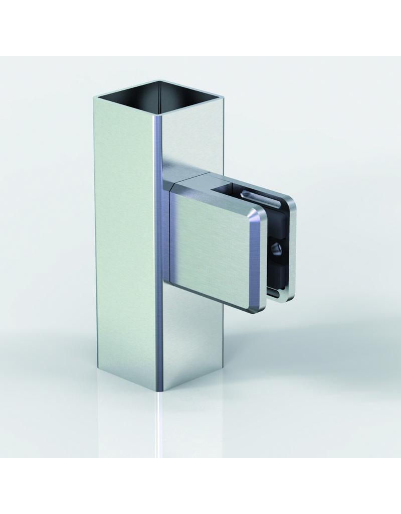 Pauli & Sohn glasklem V2A  48x45x27mm vlakke buis rubbers inclusief