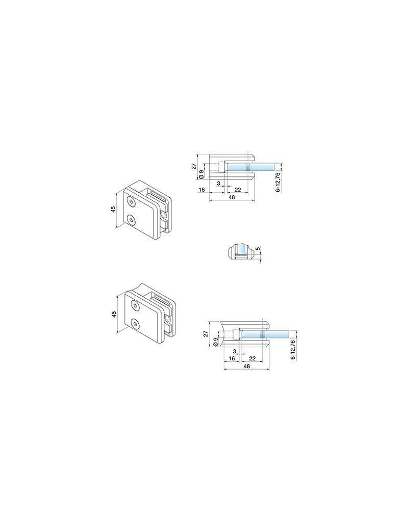 Pauli & Sohn pince à verre V4A - 48x45x27mm pour verre 10 - 10.76mm / joints inclus