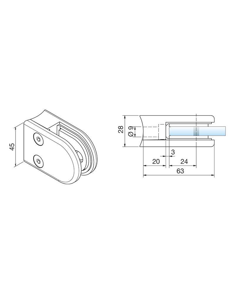 Pauli & Sohn pince à verre zamac - 63x45x28mm pour verre 12 - 12.76mm / joints inclus