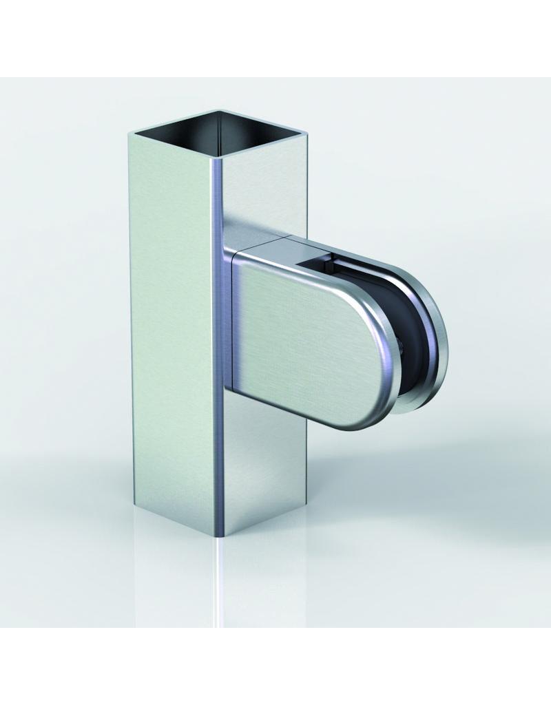 Pauli & Sohn glasklem V2A - 63x45x28mm voor glas 12 - 12.76mm / rubbers inclusief