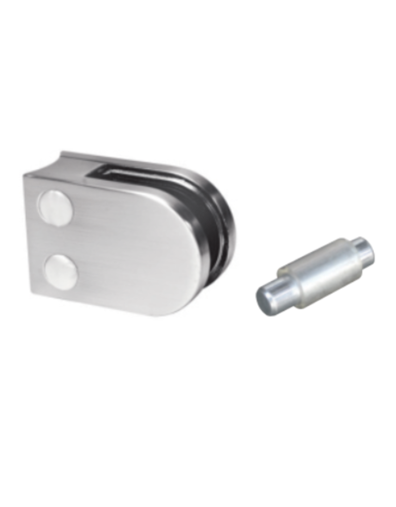 glasklem V2A - 63x45mm voor glas 6 - 6.76mm met zekerheidspin