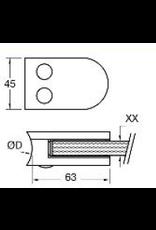 glasklem V2A  63x45mm voor glas 8 - 8.76mm met zekerheidspin