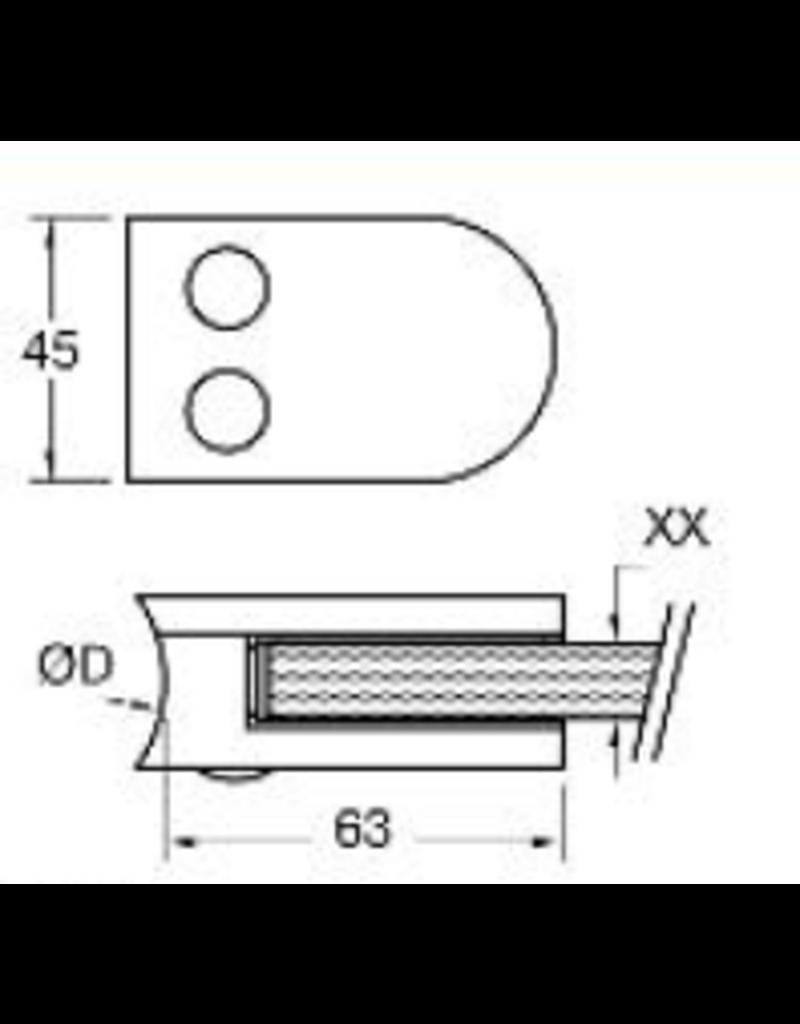 Rinox glasklem V2A - 63x45mm voor glas 8 - 8.76mm met zekerheidspin