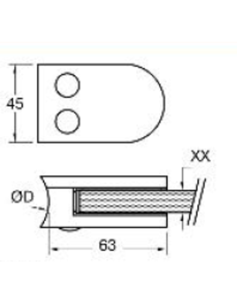 Rinox glasklem V2A - 63x45mm voor glas 12 - 12.76mm met zekerheidspin