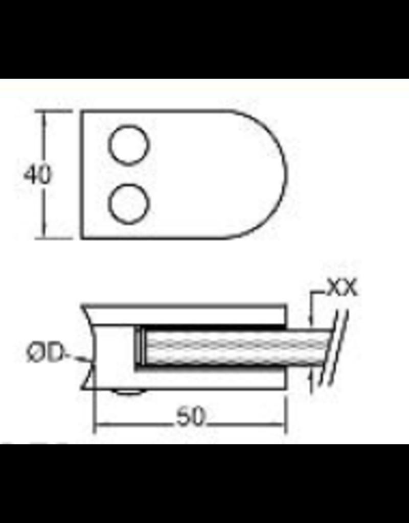 Rinox glasklem V2A  50x40mm voor glas 8 - 8.76mm met zekerheidspin