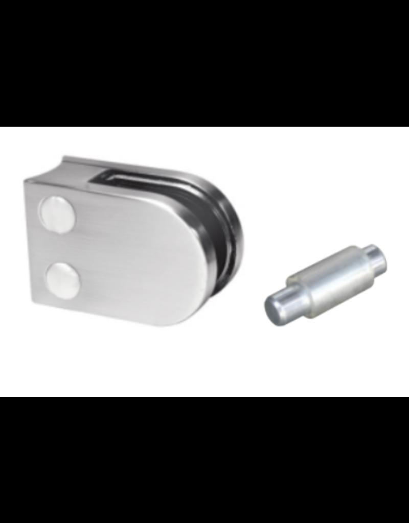 Rinox glasklem V2A  50x40mm voor glas 6 - 6.76mm met zekerheidspin